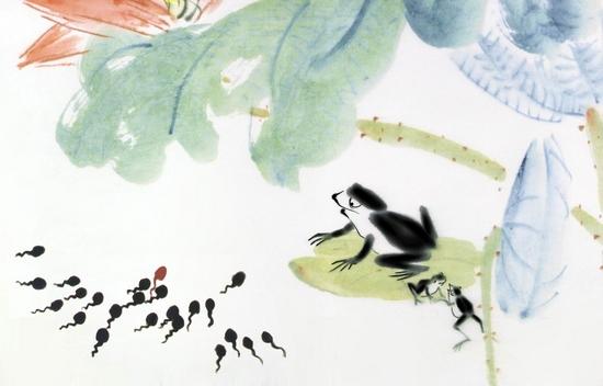 儿童水墨画蝌蚪步骤图