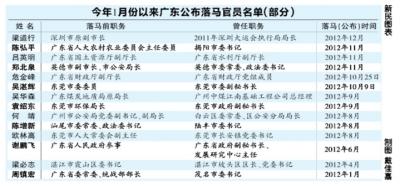 广东今年数十名厅官落马 十八大后1周查处4高