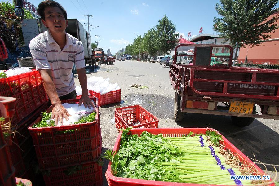 Sales of ice cubes up in Beijing as temperature climbs