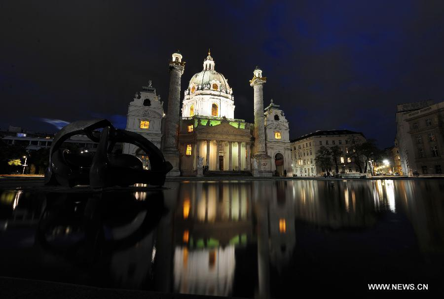 Night view of St. Charles's Church in Vienna
