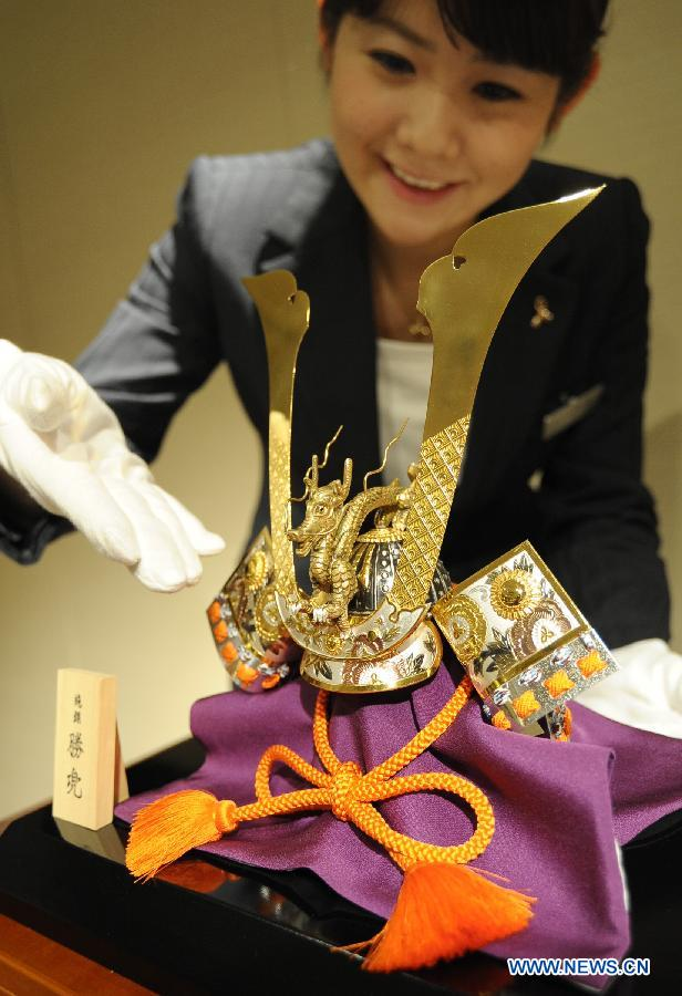 Gold, silver helmets presented to greet Japanese Boy's Day
