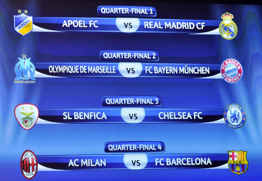Draw for quarter final of uefa champions league released soccer china