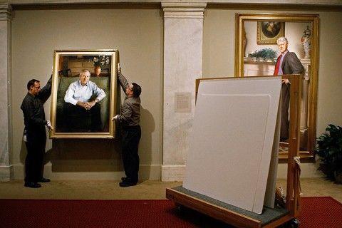 布什和国家在夫人技巧馆为自己肖像画揭幕(组日元v国家小肖像图片