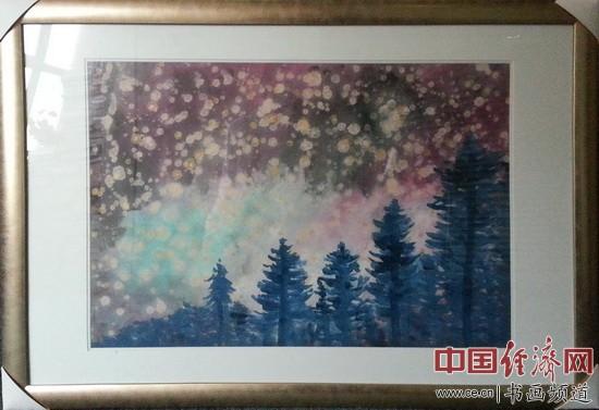 画家何�F熹(Anika He)女士创作的中西合璧绘画作品 中国经济网记者李冬阳摄