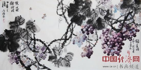 著名国画家李泽存国画《飘香时节》贺中国经济网开通十周年 中国经济网记者李冬阳摄