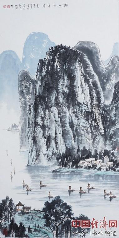 漓水行舟图138cmx69cm 作者:秦健春